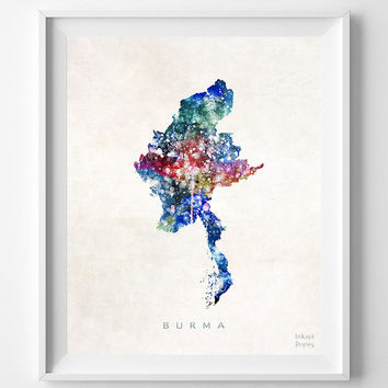 Burma Map, Myanmar, Print, Asia, Watercolor, Naypyidaw, Home Town, Poster, Country, Wall Decor, Painting, World, Gift, Living Room, Bed Room