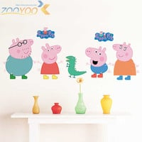 Cartoon Peppa Pig Cute Wall Sticker Bedroom Child Decoration Painting Baby Living room Wallpaper DIY Removable Home decor-lch