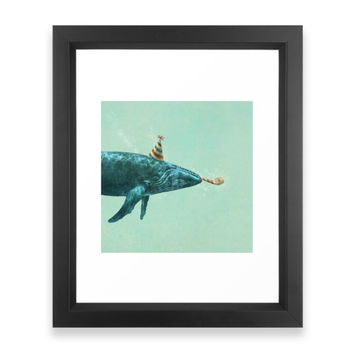 Society6 Party Whale Framed Print
