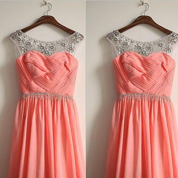 romantic sheer beaded coral colored bridesmaid dresses pleat bridesmaid dresses long formal party chiffon dress wedding guest