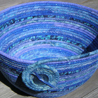 Large Coiled Fabric Bowl, Coiled Fabric Basket, Batik Bowl, Blue