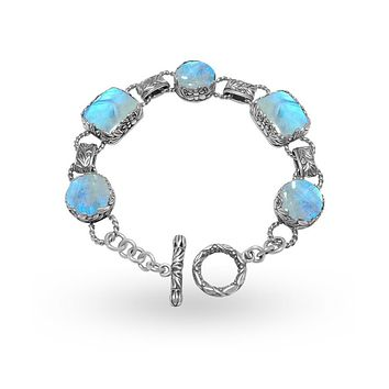 AB-9002-RM Sterling Silver Bracelet With Rainbow Moonstone