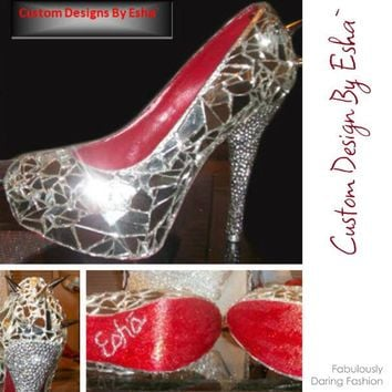 Custom Wedding Prom Shoes- Mirror Pumps with Silver Spikes and Red Glitter Soles Sizes 5.5-15