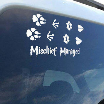 Mischief Managed Harry Potter inspired vinyl decal sticker for laptop or window