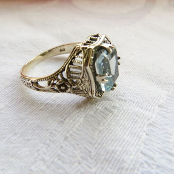 Art Deco Aquamarine Ring, Vintage Filigree Engagement Ring, Wedding Ring, Something Blue