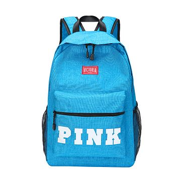 Victoria Pink Fashion New Letter Print Canvas Leather Leisure Women Backpack Bag Sky Blue