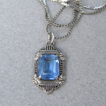 1930's Vintage Art Deco Topaz Blue Glass Sterling Silver Pendant Necklace