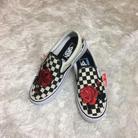 Rose vans, custom slip on sneakers, womens sneakers, custom vans, rose cans old skool, roses on vans, rose patch, vans, rose embroidered