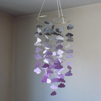 Cloud Gray, sparkle and Purple mobile. Baby Nursery mobile,Crib mobile,Happy Birthday, Boy, Girl mobile, Baby shower, Choose Your Colors!