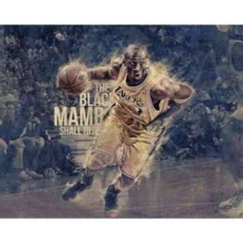 the black mombo shall rise kobe bryant poster 24x36 basketball star cool  number 1
