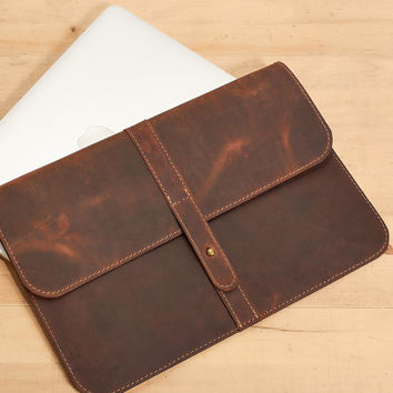 Leather case. MacBook leather sleeve. Brown leather portfolio. Brown leather clutch. MacBook case. Laptop leather case. Gift for her/him