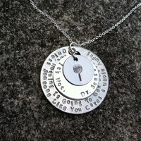 "Dr. Seuss LORAX inspired ""unless someone cares a whole awful lot..."" quote handstamped necklace"