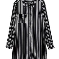 Black Striped Long Sleeve Blouse