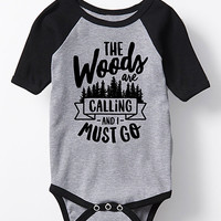 Athletic Heather 'The Woods Are Calling' Raglan Bodysuit - Infant
