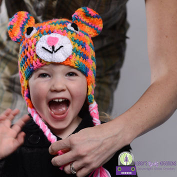 Rainbow Bear Hat, Earflaps and Braids, Bright, Neon, Size Premie through Adult, Warm, Neon Pink Accents