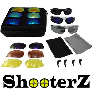 SHOOTERZ Eyewear Kit with Three Frames, 9 Interchangeable Lenses, Ear Locks, Storage Case and Lens Cloths. Everything you NEED!!!