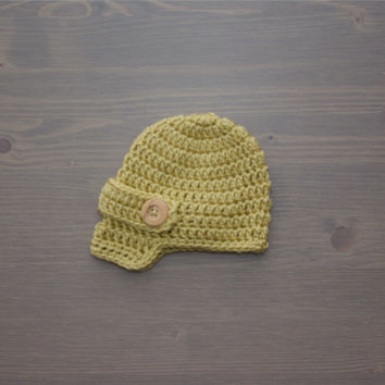 Crochet Brown Newsboy Cap, Newborn Photo Prop, Crochet Baby Hat, Crocheted Baby Hat, Baby Shower Gift, Newsboy Hat, Baby Boy, Baby Girl Hat