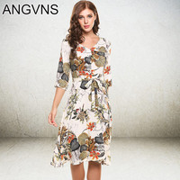 ANGVNS Casual Print Dress Dresses Ladies Summer Elegant Vestidos 2017 New Hot Women 3/4 Sleeve Knee Length Dining Party Dresses