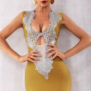Night Of Passion Ginger Yellow Sleeveless Sequin Plunge V Neck Sheer Mesh Cut Out Bodycon Bandage Mini Dress - 6 Colors Available