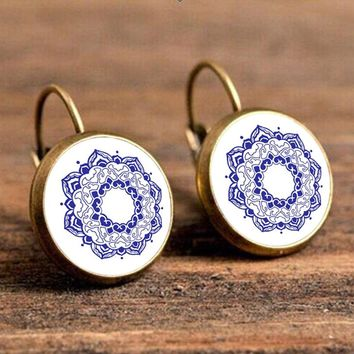 Flowers Antique Gold Color Drop Earring for Women Bohemian Round Ear Pendant Resin Hanging Earing Indian Jewelry Brincos 2018