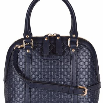 Gucci Women's Micro GG Leather Convertible Mini Dome Purse (449654/Dark Blue)