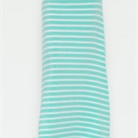 Mint and White Striped Maxi Skirt