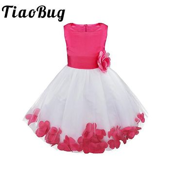 TiaoBug 2017 Girl Flower Dress Infant Kids Toddler Girls Clothes Princess Party Dress Ball Gown Prom Formal Occasion Tutu Dress