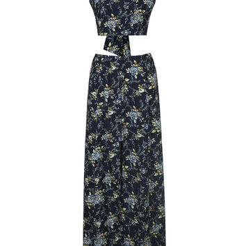 Navy Floral Tie Back Cami Crop Top and Split Maxi Skirt