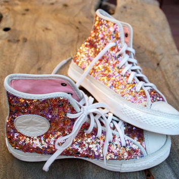 Rainbow Sequin Converse Chucks High Tops - Rare - Wedding/Prom/Just Because They're Gorgeous