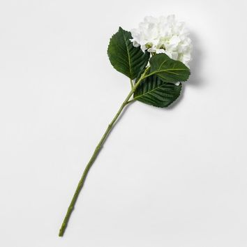 "28"" Artificial Hydrangea Flower Stem White/Green - Threshold™"
