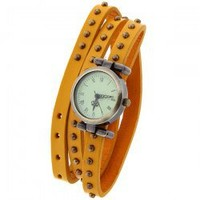 Quartz Watch with Roman Numbers Indicate Round Dial Dots Patterned Leather Watch Band for Women (Yellow)