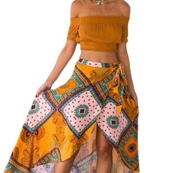 Boho Dream Tie Waist Tribal Print Asymmetrical Maxi Skirt