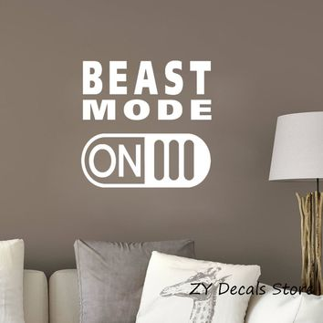 Beast Mode On Vinyl Decal Sticker Gym Motivation Quote Wall Decals Workout Fitness Wall Stickers Bedroom Living Room Decor S693