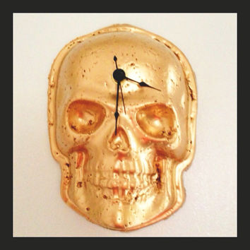 Gold Skull Wall Clock // Battery Included // Ceramic Clock // Gold Decor //