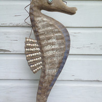 Seashell Seahorse/Beach House Decor/Sealife Art