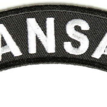 Kansas Rocker Patch Small Embroidered Motorcycle NEW Biker Vest Patch