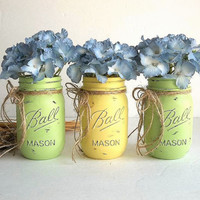 Painted Ball Mason Jars vases set THREE pint distressed, lemon yellow lime green Rustic Farmhouse Coastal Beach decor jute twine bow