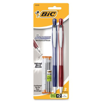 Bic Mechanical Pencil, Retractable, 0.7mm, 2/Pack, Red/Blue (BICMPAGMP21)