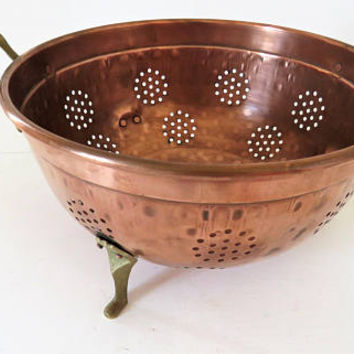 Vintage French, Hand Crafted, Copper And Brass Colander