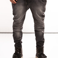 Stretch Denim Charcoal Moto Jogger