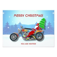 Christmas Party Invitation Santa Riding Chopper