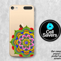 Mandala Clear iPod 5 Case iPod 6 Case iPod 5th Generation iPod 6th Generation Rubber Case Gen Clear Case Real Flower Floral Rainbow Boho New