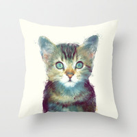 Cat // Aware Throw Pillow by Amy Hamilton
