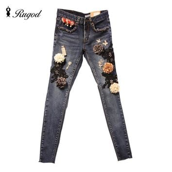 Rhinestone Jeans Pants Women 2016 Winter Autumn Skinny Jeans Womens Lace Slim Pencil Denim Pants with Embroidered Beading