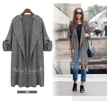 2017 spring Europe style women's loose big size long cotton and linen cardigan jacket women casual plus size female coat 5XL