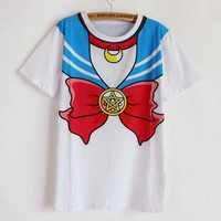 2016 new Hot Sailor moon harajuku t shirt women cosplay costume top kawaii fake sailor t shirts girl new Free Shipping