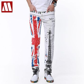 Top Punk Style ! 2017 New Yuppie Jeans for Male leisure men's brand designer retro print jeans Men White Trousers Plus size man