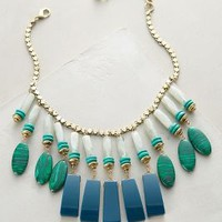 Equatorial Fringed Bib Necklace by Anthropologie Green Motif One Size Necklaces