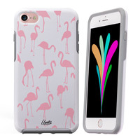 iPhone 7 Case White Symmetry Pink Flamingos by Unnito