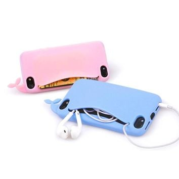 Cute Little Whale Silicone phone case for Apple iPhone 6 case 6s 4.7 inch Soft Silicone cover Kawaii Big mouth Rubber card slot